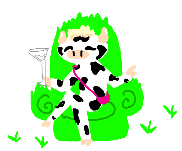 Cow sits in a chair