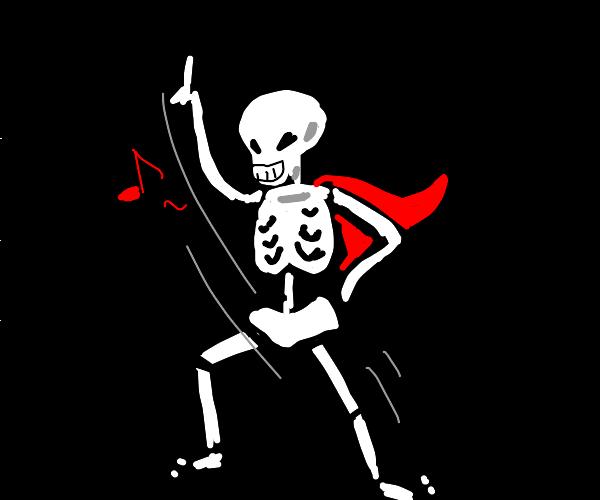 skeleton in a cape doin a little dance :)