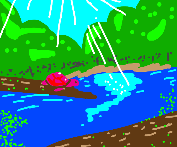 pink turtle in a pond
