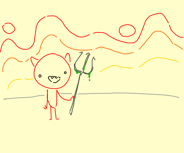 devil with disgusting pitch fork