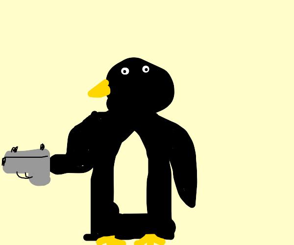 Glock-totin' penguin