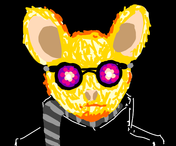Yellow mouse is sick