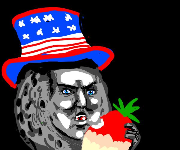 Patriotic moon man eats radish