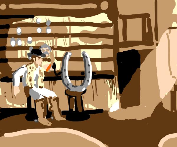 horse shoe talking in a western style bar