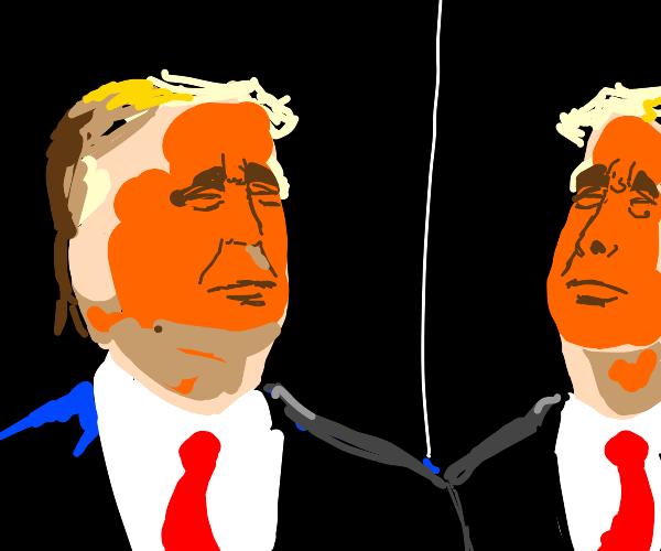 Trump looks into a mirror