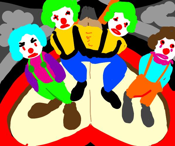 it's da circus starring a trio of clowns