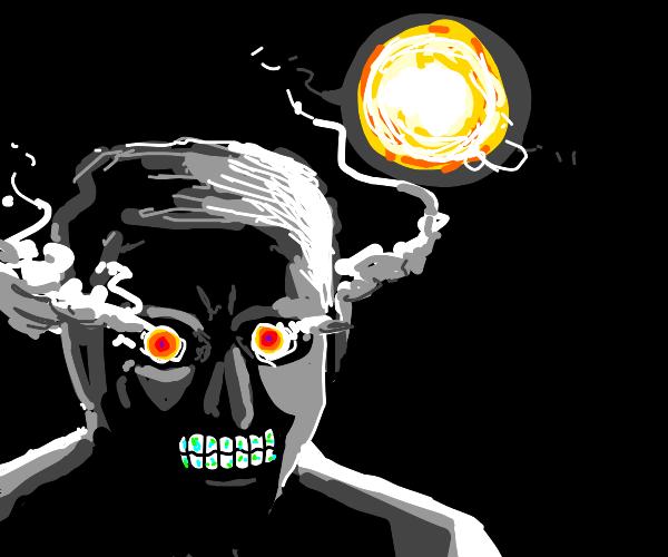 sun in complete darkness man w smoking eyes