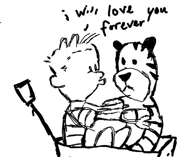 Calvin kisses a Hobbes plushie