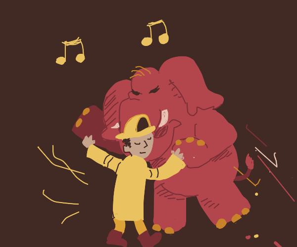 A fireman dancing the tango with an elephant