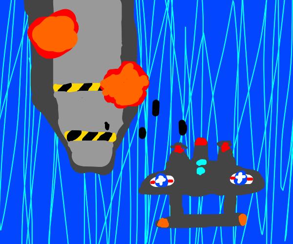 Ship bombing game in c. 1942