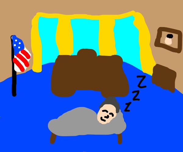 Old American President Sleeping