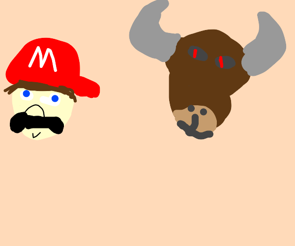 mario and a bull