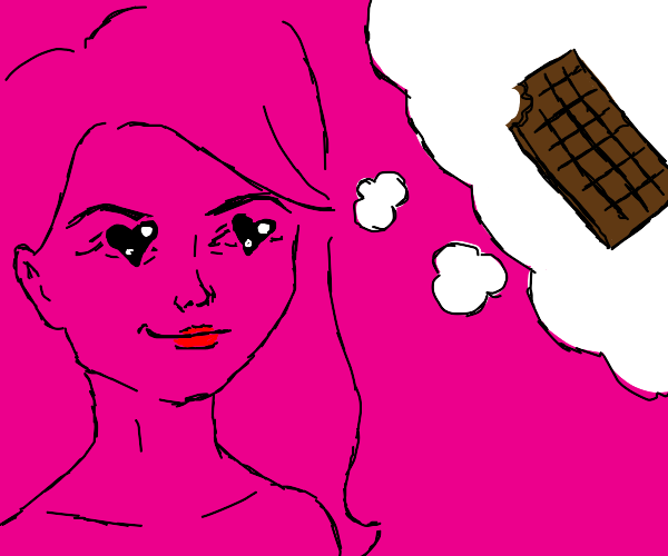 woman thinking about chocolate