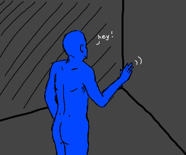 blue man says hey to empty corner of a room