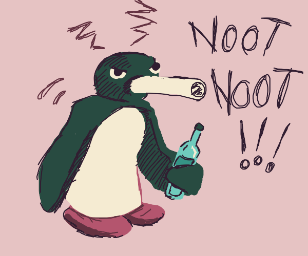 pingu becomes an aggressive alcoholic