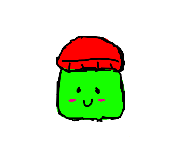 Green slime wearing a red beanie