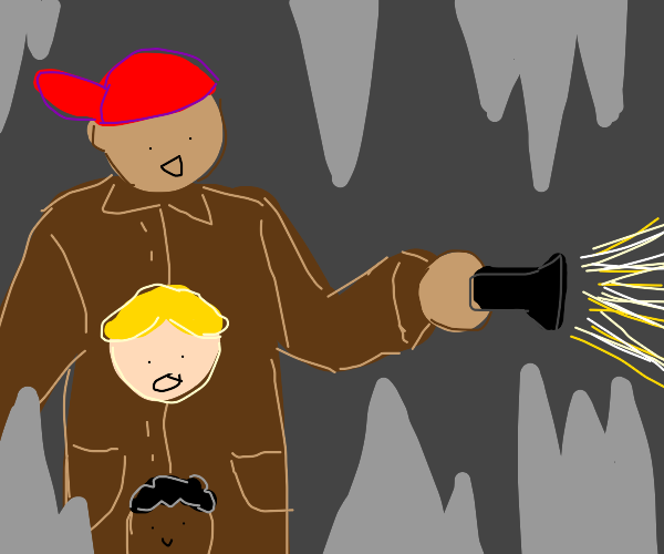 3 kids in trench coat explore a cave