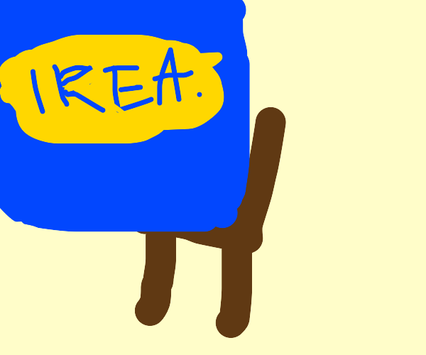 a whole IKEA building sitting on a chair