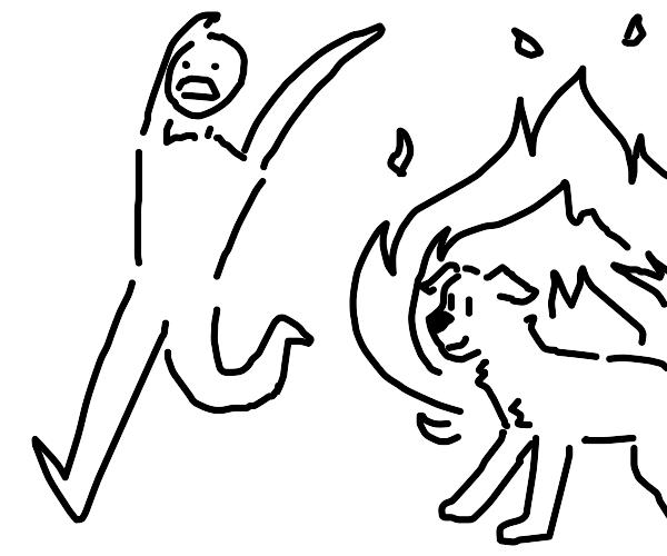 man runs from fire dog