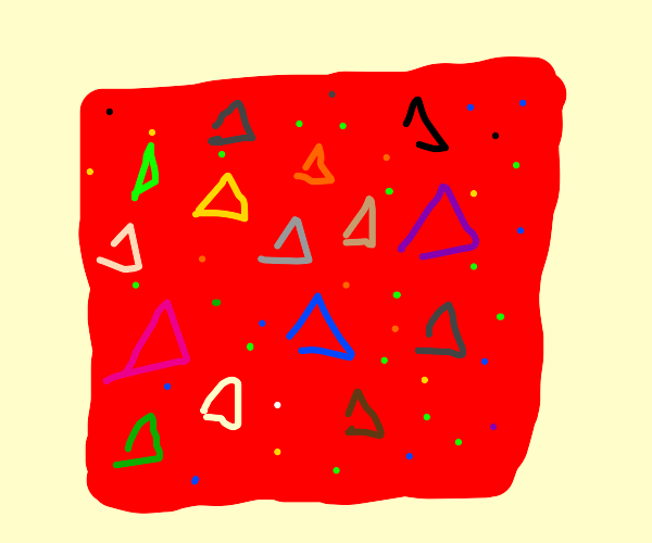 red square w/ triangles & dots in them.