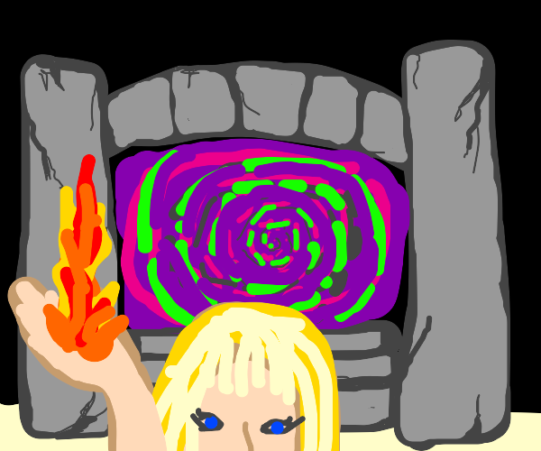 A girl holding fire with a portal in the back
