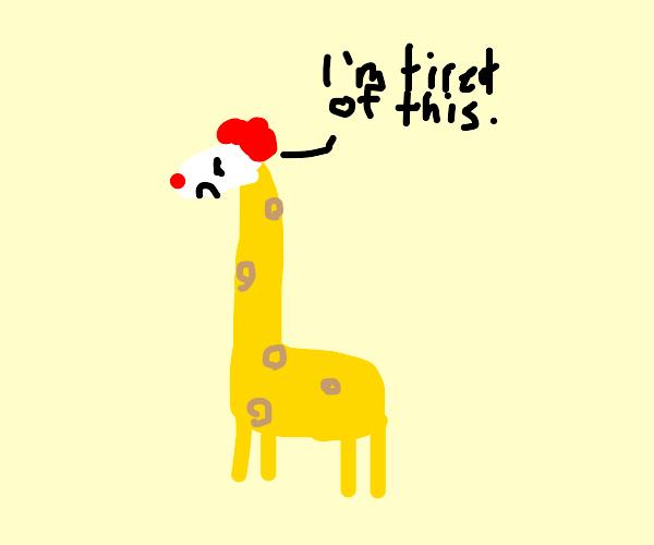 Giraffe is tired of wearing a clown mask