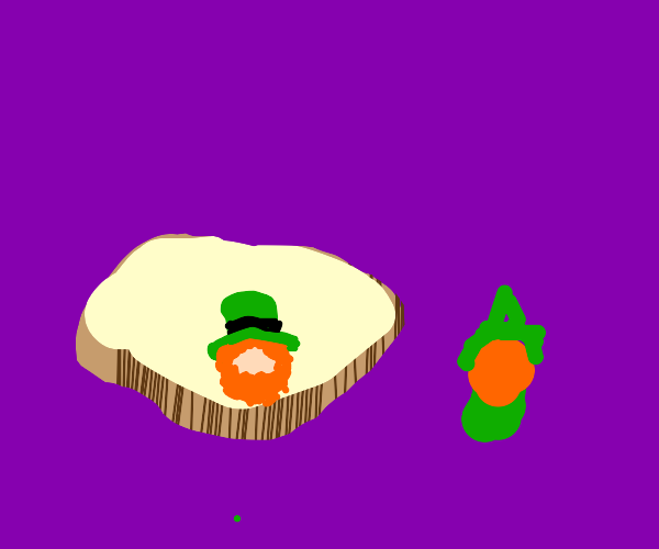 Two leprechauns: one is in a slice of bread