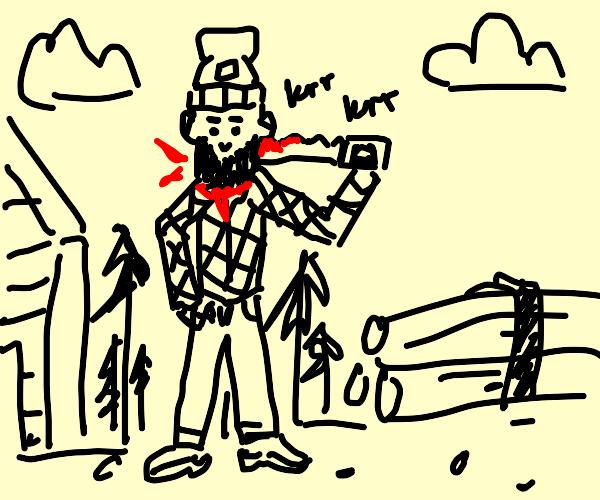 lumberjack sawing off his own head