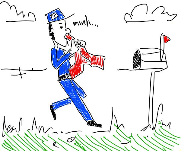 Mailman eating a Shirt