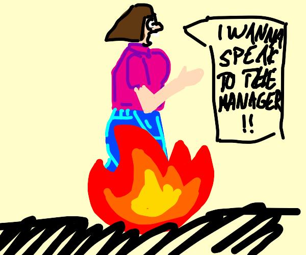 Karen on fire