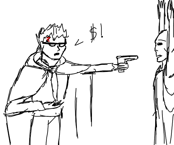 Harry Potter mugging Voldemort with a gun