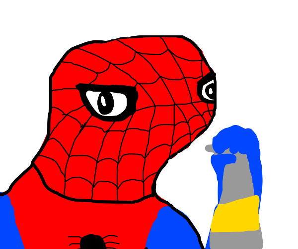 spooderman takes a puff of lysol