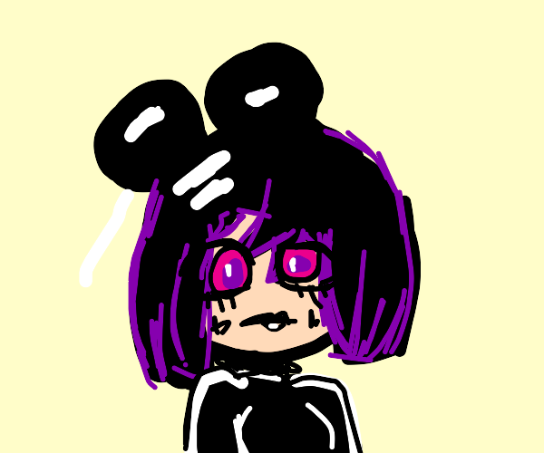 cute e-girl w/ a mickey mouse hat