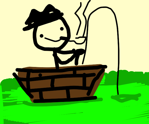 Man with hat fishing from boat