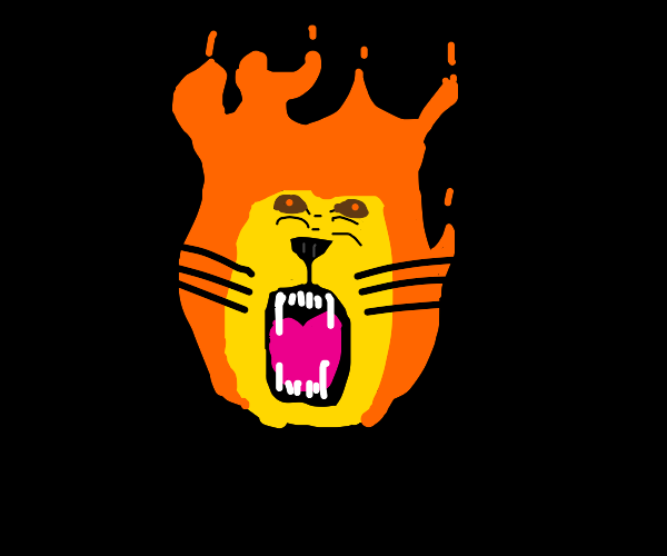 Lion with fire mane