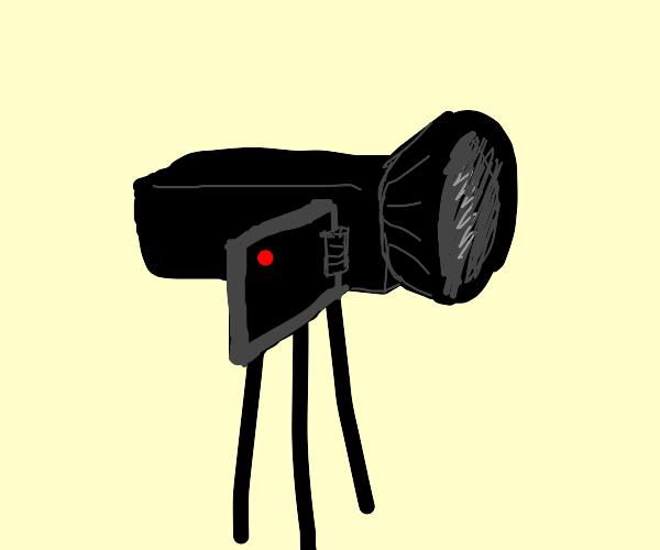 A big camera on a stand