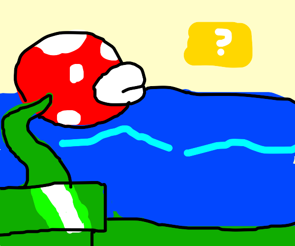 Piranha plant next to lake.