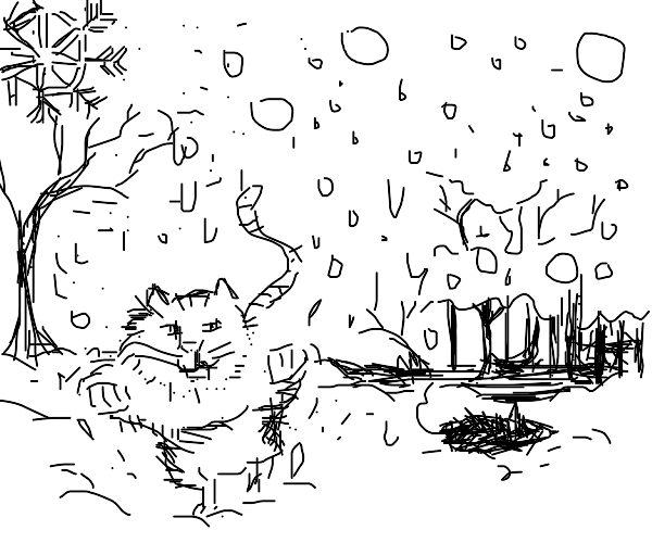 Cat chasing mouse through the snow