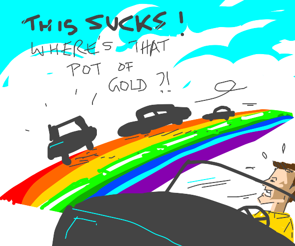 Cars fall off the rainbow highway