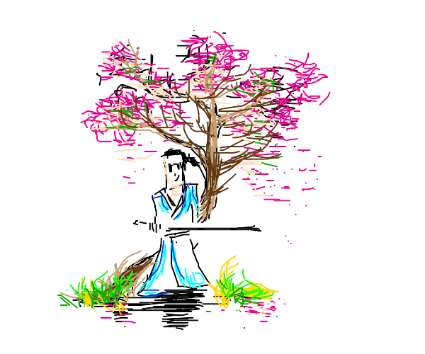 Samurai Jack infront of a blooming tree