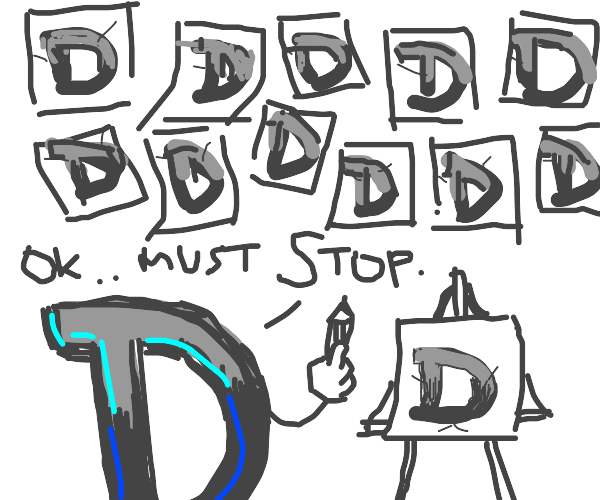 Drawception drawing himself and says stop
