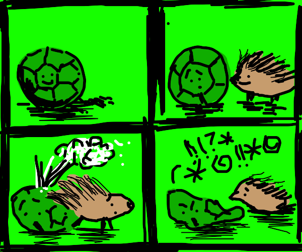 green football insults a porcupine