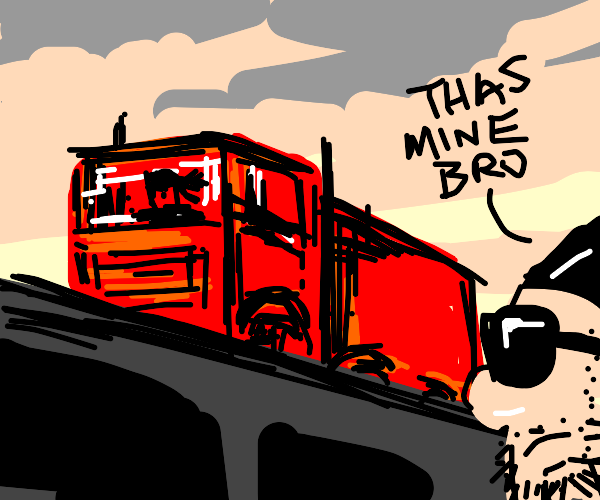 Gangster has GIANT cool red truck
