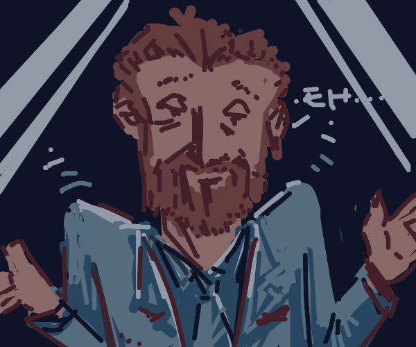 Tired, beardy ginger man shrugs his shoulders