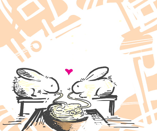 two bunnies slurping noodles