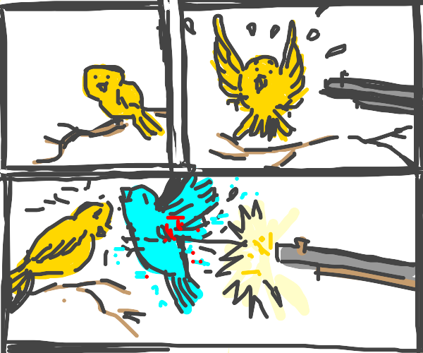 bird sacrifices self for other bird