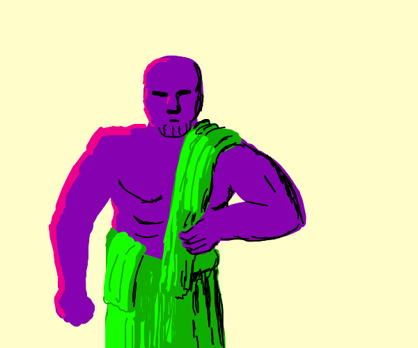 Strong Purple man with a green towel