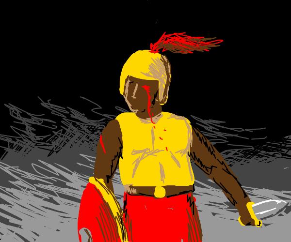 warrior dude with a bleeding eye