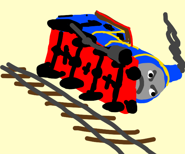 Thomas the tank engine derails himself, angry