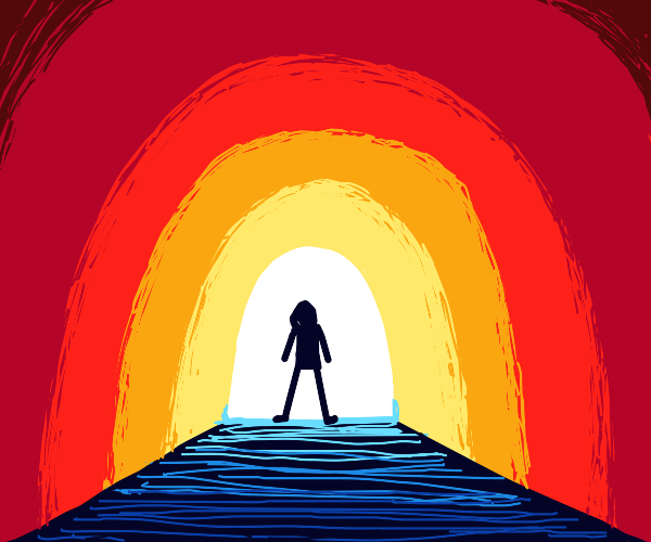 Man stands at the mouth of a tunnel